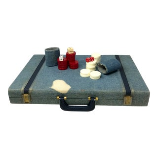 Vintage Denim and Leather Backgammon Game Board and Case For Sale