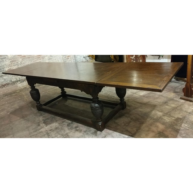 Brown 18th Century English Oak Jacobean Style Draw Leaf Refectory Table Size For Sale - Image 8 of 10
