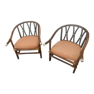 Vintage Bamboo / Rattan Easy Chairs- a Pair For Sale