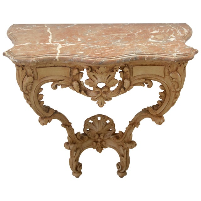 Wood Late 18th Century Louis XV Style Console Hand Carved Wood Marble Top- 2 Avail For Sale - Image 7 of 7