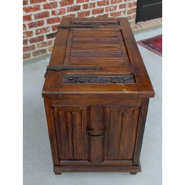 Early 19th Century Antique French Oak 19th Century Gothic Coffer Chest Blanket Box Trunk For Sale - Image 5 of 12