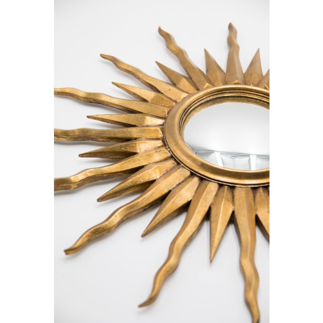 Boho Chic French Giltwood Convex Sunburst Mirror For Sale - Image 3 of 5