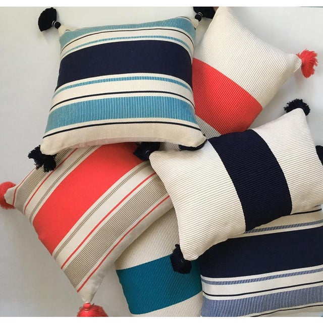 Mid-Century Modern Cabana Stripe Pillow For Sale - Image 3 of 4
