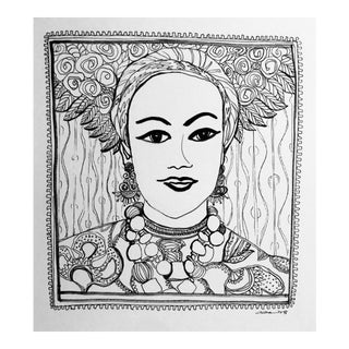 "Contemporary Original Pen & Ink Drawing ""The Headress"" by Christy Almond"