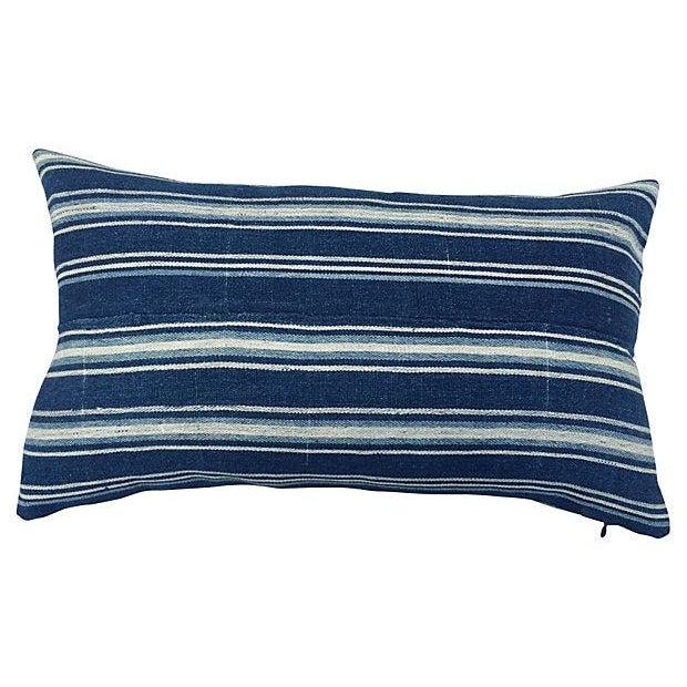 African Indigo Striped Pillows - a Pair - Image 3 of 5