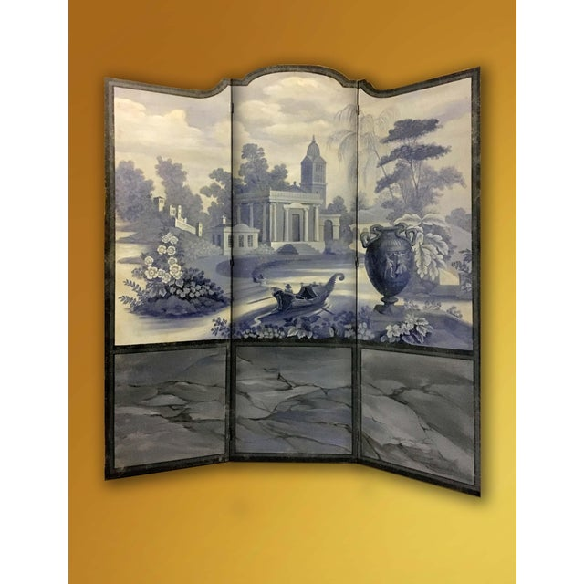 Vintage European 3-Panel Top Shaped Blue & White Screen For Sale In New York - Image 6 of 6