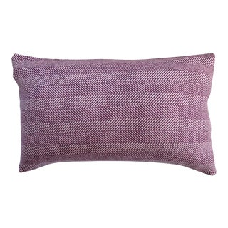 Contemporary FirmaMenta Burgundy Herringbone Wool Lumbar Pillow For Sale