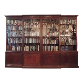 Monumental 19th Century Irish Chippendale Mahogany Breakfront Bookcase For Sale