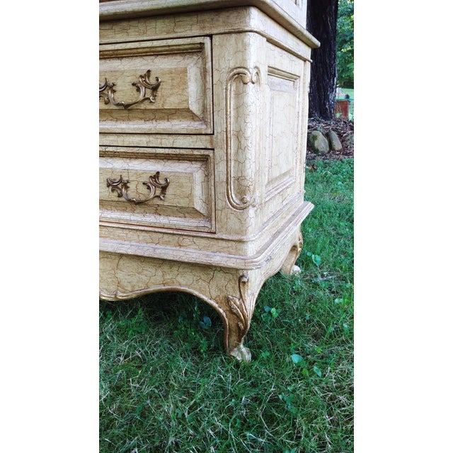 1990s French Bau Carved Aged White Crackle Painted Wardrobe For Sale - Image 10 of 13