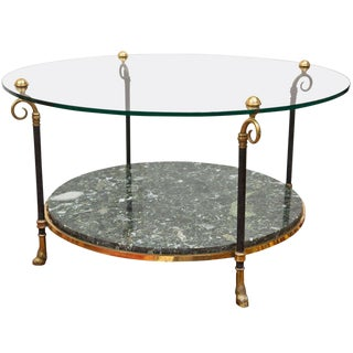 Maison Jansen Style Brass and Marble Cocktail Table For Sale