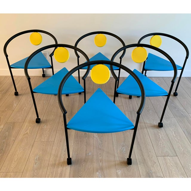 Set of 6 Memphis Three Legged Dining Chairs in the Manner of Michele De Lucci For Sale In Los Angeles - Image 6 of 7