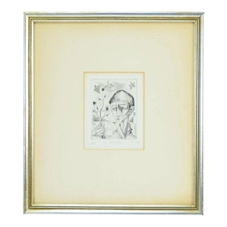 """French Mid-Century Modern """"The Gardener"""" Etching by Jean Claude Vignes For Sale"""