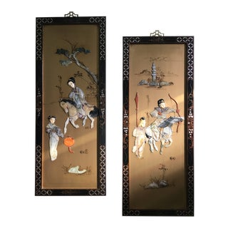 Mid-Century Japanese Carved Stone & Wood Wall Panels - a Pair For Sale