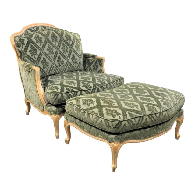 Louis XV Style Pickled Finish Bergere & Ottoman For Sale
