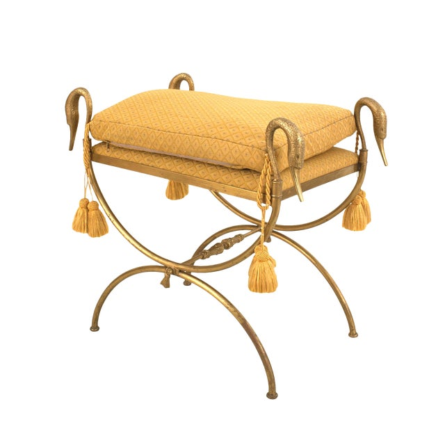 Jansen French 1940s Directoire Style Gilt Bronze Bench For Sale