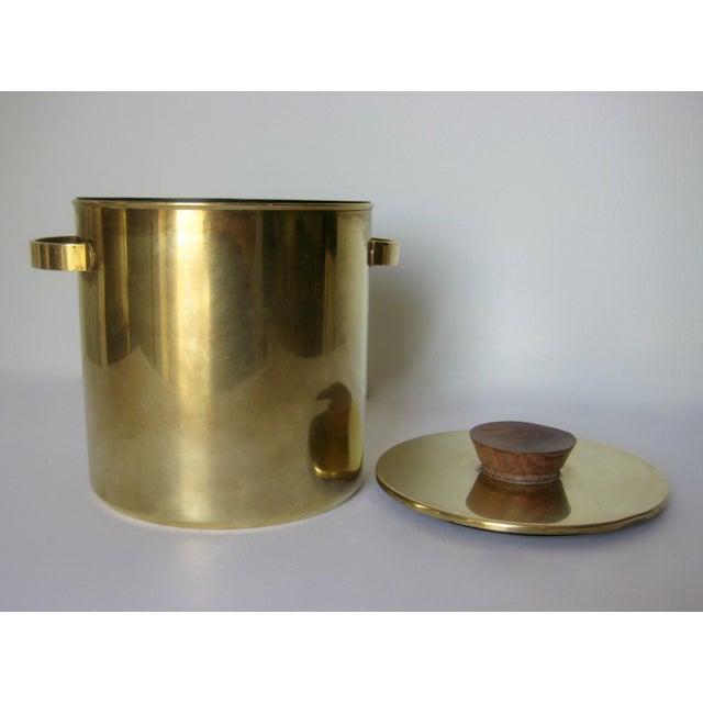 Mid-Century Italian Brass & Teak Ice Bucket - Image 4 of 13