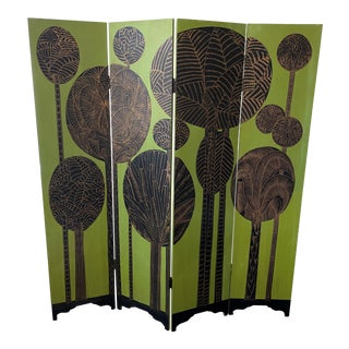 Art Deco Painted 4-Panel Folding Screen/Room Divider For Sale