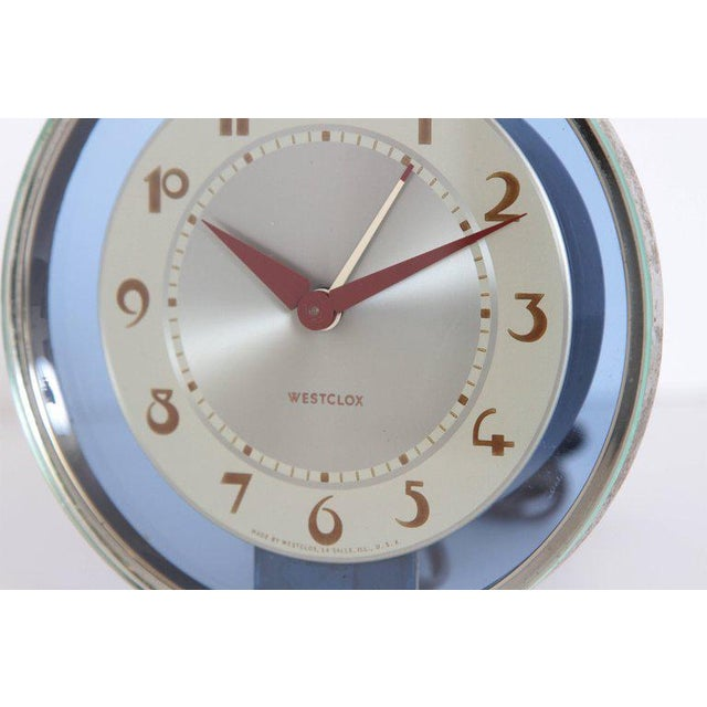 Art Deco Machine Age Art Deco Westclox Desk Clock Chrome with Cobalt Glass For Sale - Image 3 of 11