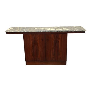 Danish Rosewood + Marble Top Console Table For Sale