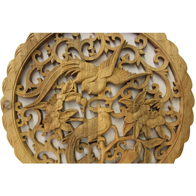 This Is A Round Shape Wooden Wall Decor With Chinese Flower And Birds Theme Surrounded By