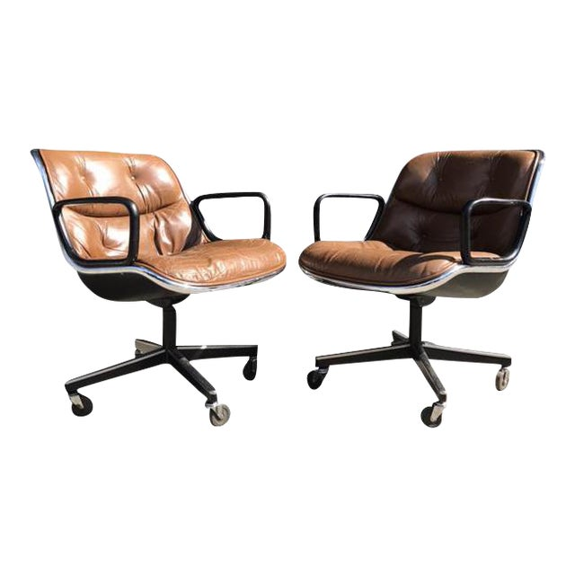 Charles Pollock for Knoll Brown Leather Office Chairs - a Pair - Image 1 of 7