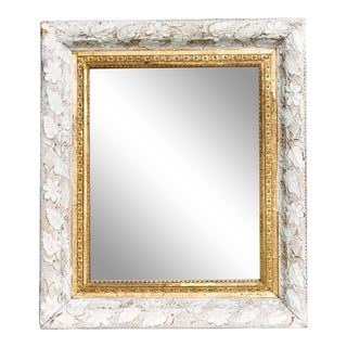 Victorian Small White and Gold Floral Mirror For Sale