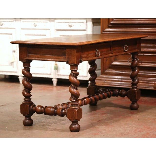 19th Century French Louis XIII Carved Oak Barley Twist Table Desk For Sale - Image 10 of 13