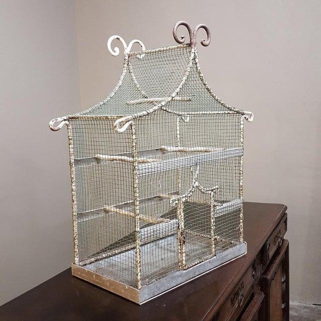 19th Century French Painted Wire Pagoda Birdcage For Sale - Image 13 of 13