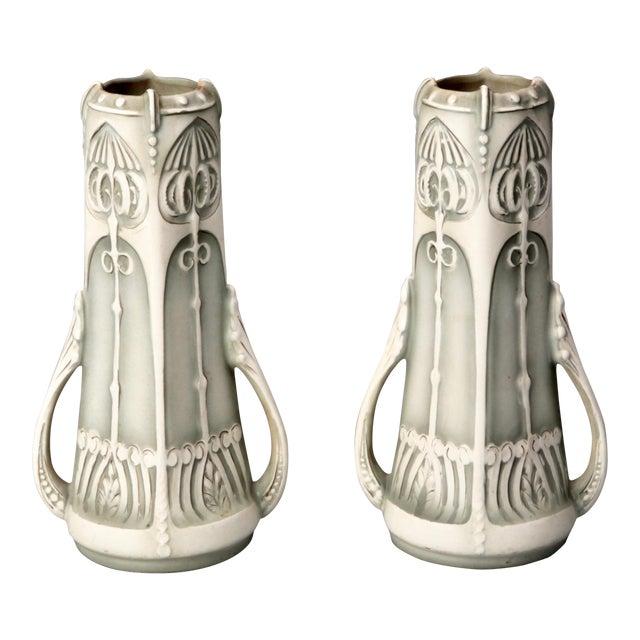 Pair Art Nouveau Pale Green & Cream Ceramic Vases - Image 1 of 5