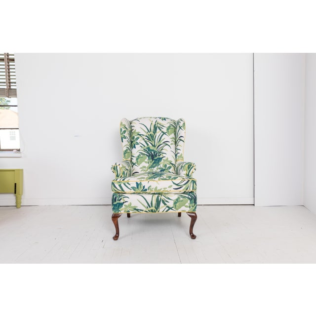 Terrific 1960S Vintage Palm Leaf Pattern Fabric Wingback Chair Machost Co Dining Chair Design Ideas Machostcouk