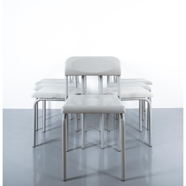 One of Seven Ettore Sottsass Greek Chairs Grey Bieffeplast, Italy, 1980 For Sale - Image 9 of 13