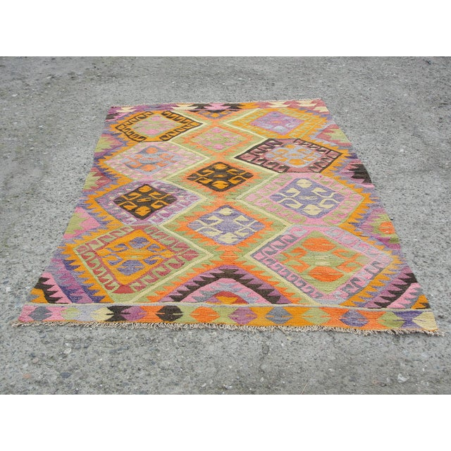 Vintage Turkish Kilim Rug - 5′5″ × 7′8″ For Sale - Image 11 of 11
