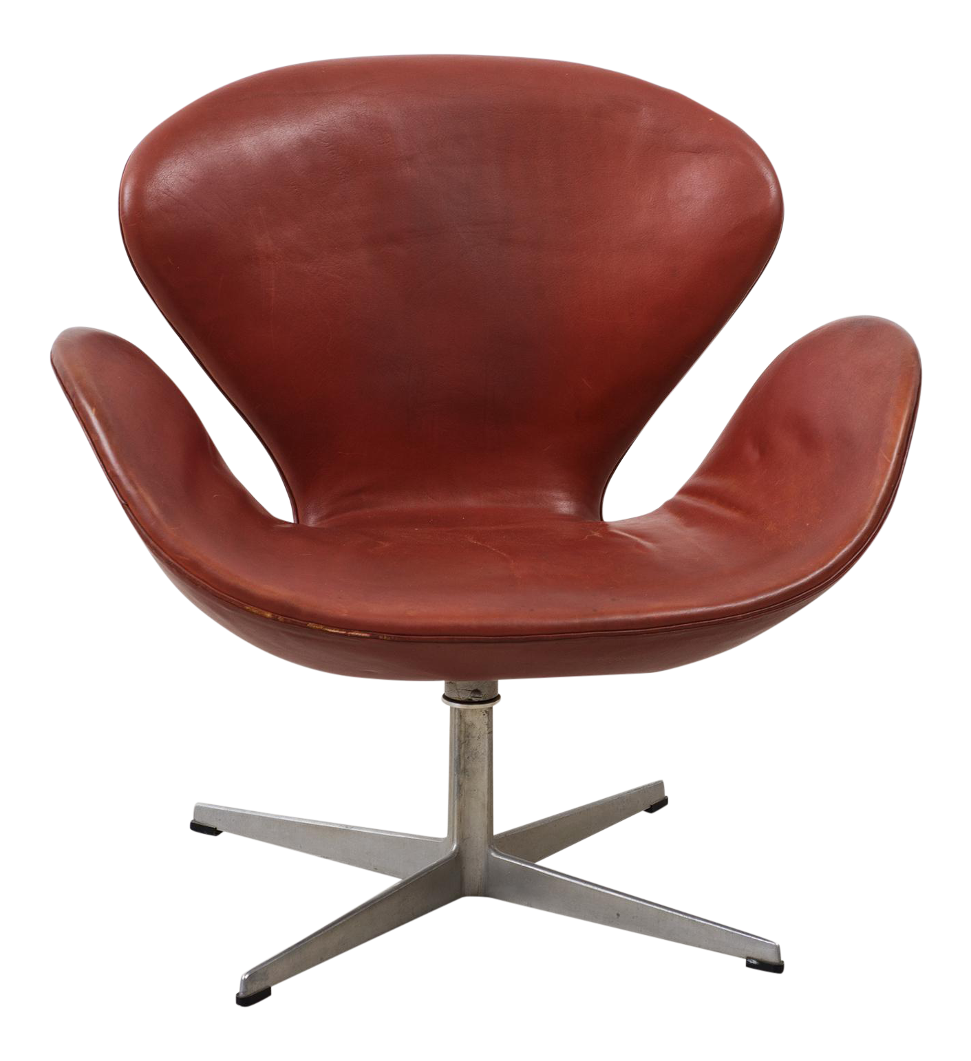 Superior Early Arne Jacobsen Swan Chair In Original Leather Decaso