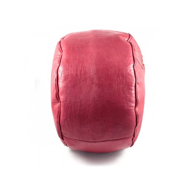 Red Moroccan Leather Pouf For Sale - Image 4 of 6