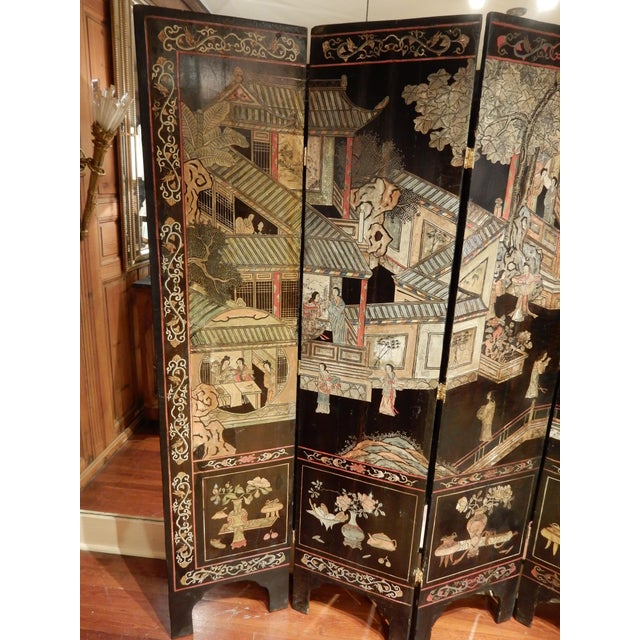 Traditional 19th Century Coromandel Black 8 Panel Screen For Sale - Image 3 of 9