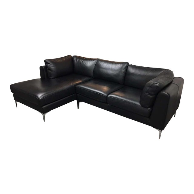 Design Within Reach Albert Black Leather Sectional