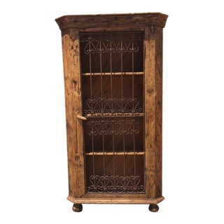 European Display Cabinet With Antique Wrought Iron Gate Door For Sale