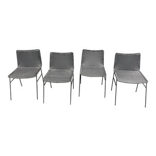 Modern Black Woven Outdoor Dining Chairs - Set of 4