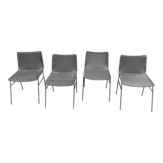 Modern Black Woven Outdoor Dining Chairs - Set of 4 - Image 1 of 8