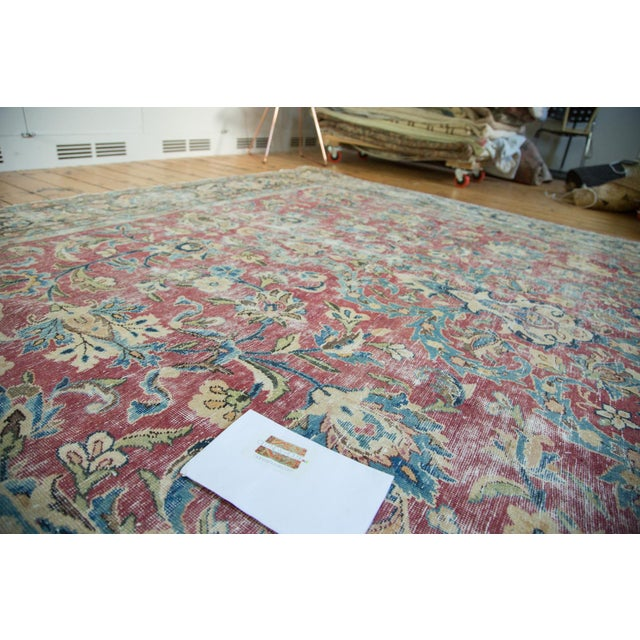 "Red Vintage Meshed Carpet - 9'3"" X 13' For Sale - Image 8 of 8"