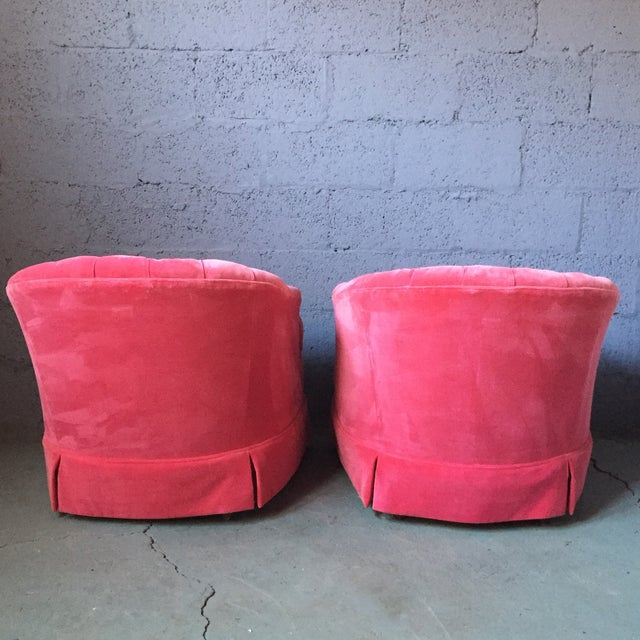 Pink Velvet Tufted Lounge Chairs - A Pair For Sale - Image 4 of 11