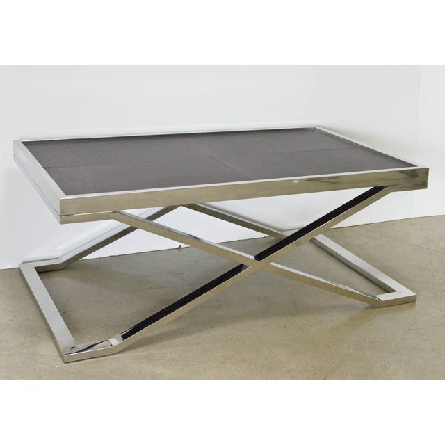 Modern Dark Brown Leather and Stainless Steel Coffee Table by Fabio Ltd For Sale - Image 3 of 7