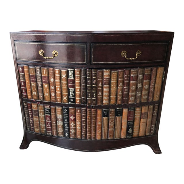 Maitland-Smith Book Spines Tooled Leather Cabinet For Sale