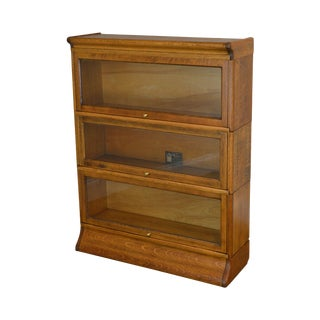 Antique Oak 3 Stack Barrister Bookcase by Viking For Sale