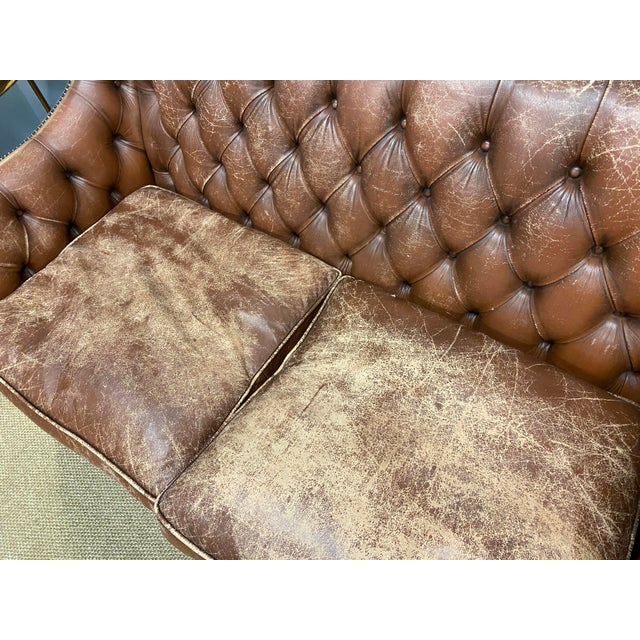 Wood Vintage 1960s Leather Sofa For Sale - Image 7 of 11