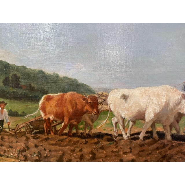 """Late 19th Century Mid-19th Century French Oil on Canvas Cows Painting """"Plowing in Nivernais"""" For Sale - Image 5 of 13"""