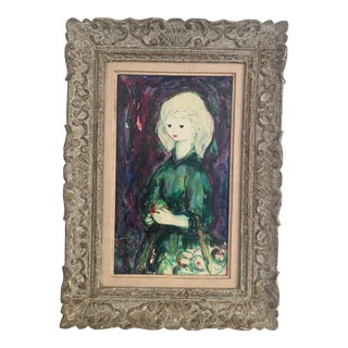 1950s Girl With Fruit by Henri Laville French Painting For Sale