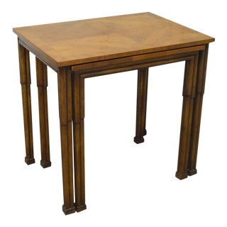 Old Colony Regency Style Yew Wood Nesting Tables For Sale