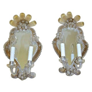 1920s Venetian Italian Mirrored Wall Sconces - a Pair For Sale