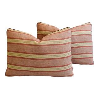"Custom Rogers & Goffigon & Eledman Leather Feather/Down Pillows 22"" X 16"" - Pair"